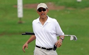 President Obama during 1 of 115 rounds of golf