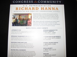 Flyer given to select voters by Rep. Richard Hanna