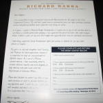 Back of flyer given to select voters by Rep. Richard Hanna