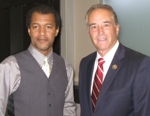 M V Consulting president Michael Vasquez with NY-22 Representative Chris Collins in Binghamton NY