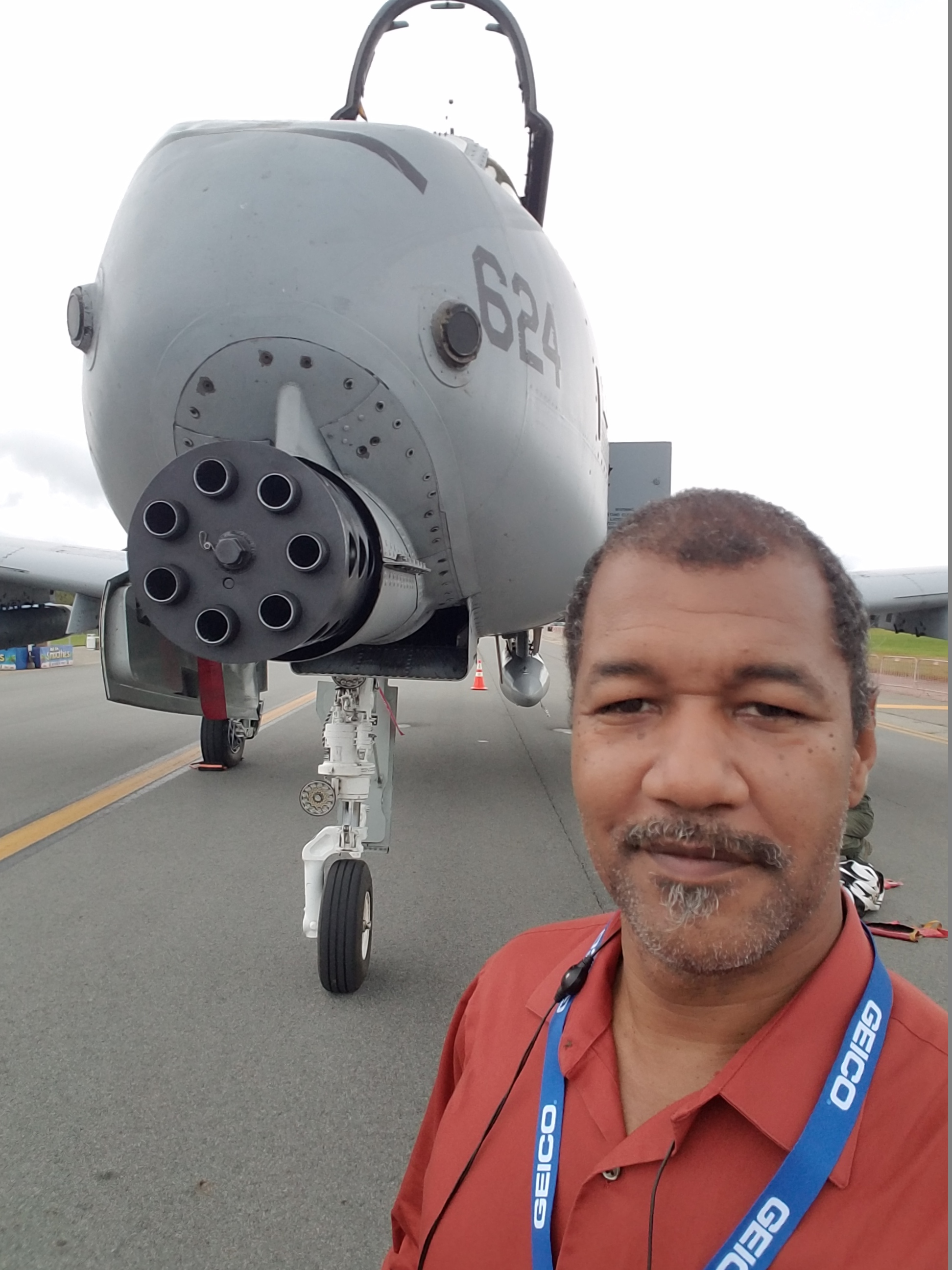 "Michael ""Vass"" Vasquez next to A-10 Thunderbolt aircraft in Orange County, NY"